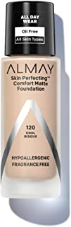 Almay Skin Perfecting Comfort Matte Foundation, Hypoallergenic, Cruelty Free, Fragrance Free, Dermatologist Tested Liquid Makeup, Cool Bisque, 1 Fluid Ounce