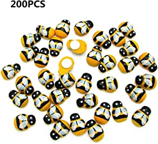 Mini Wooden Bees with Adhesive Embellishments Painted Flatback Wood Bumble Bee for DIY Craft Decoration Scrapbooking 200 Pack
