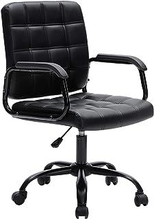 Silla de escritorio moderna y elegante Silla de escritorio para computadora de oficina Silla de escritorio de trabajo ejecutiva de cuero con reposabrazos de soporte lumbar para sala de conferencias