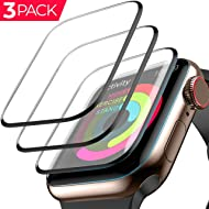 [3 Pack] Apple Watch Screen Protector (38mm for Series 3/2/1) 3D Tempered Film Max Coverage Full...