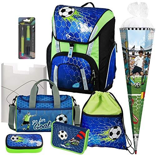 Soccer Champ - Football Fußball - Schulranzen-Set TOOLBAG SMART -78321-070 Schneiders 8teilig mit FEDERMAPPE, Sporttasche und SCHULTÜTE - Füller GRATIS