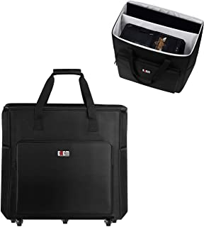 Buwico Desktop PC Computer Travel Storage Carrying Case Bag with Wheels for Computer Main Processor Case, Monitor, Keyboar...