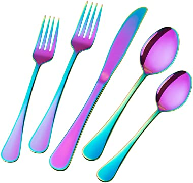 Colorful Flatware Set 40-Piece, Stainless Steel Rainbow Silverware Service for 8, Muticolorful Cutlery Set for Home and Resta