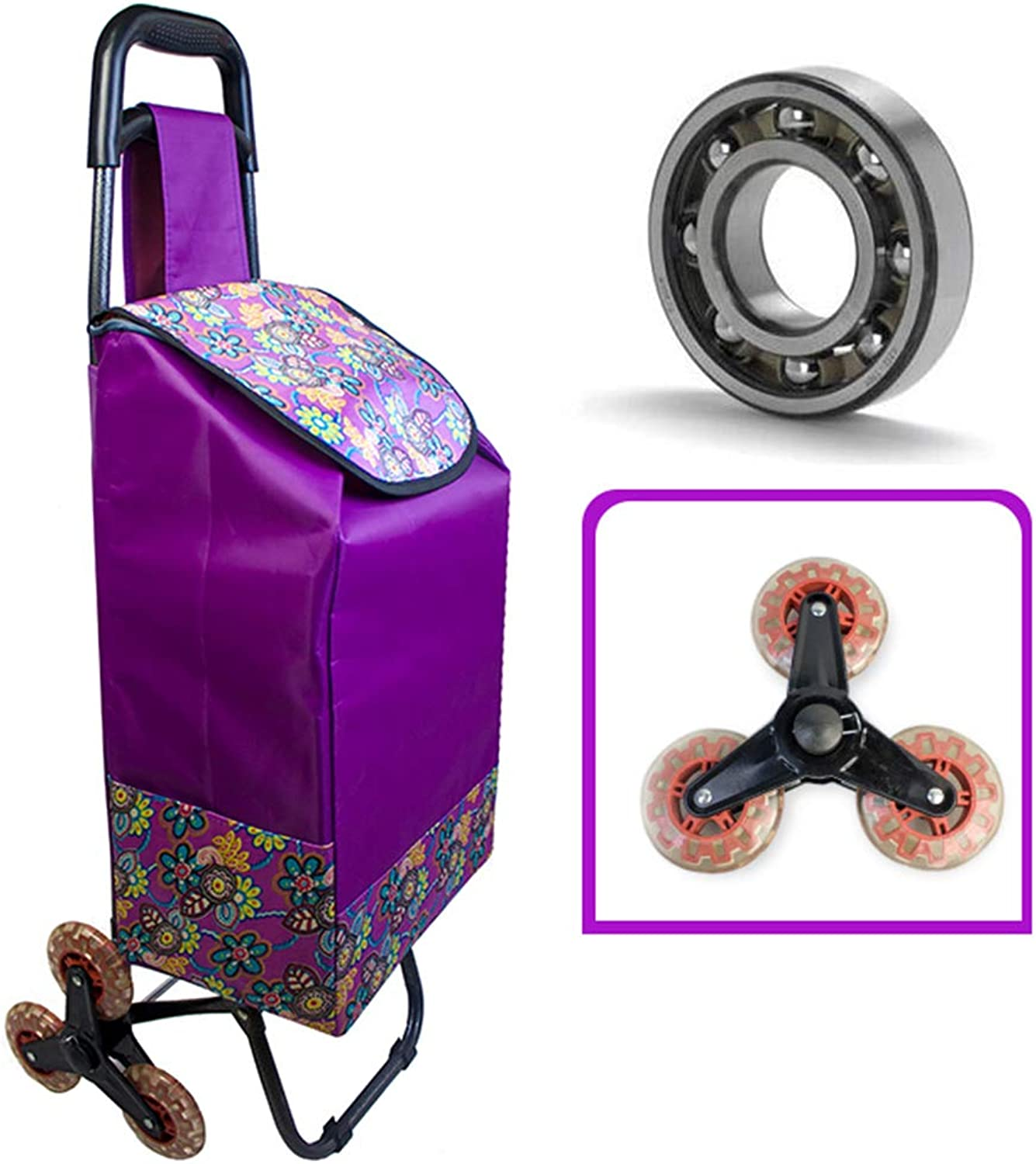 Lightweight Folding Shopping Trolley 6 Wheels, Groceries Climbing Stairs Practical Market Cart, Solid and Easy to Storage