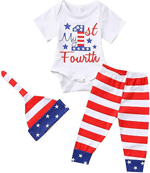 Baby Boy Patriotic 21th Of July Outfits Sleeveless T Shirt Top Harem Pants
