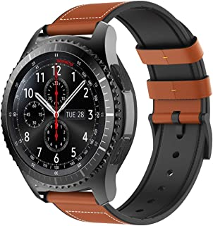 TiMOVO Replacement Band Compatible with Samsung Gear S3 Classic/Frontier/Galaxy Watch 46mm, 22mm Leather & Silicon Band Wrist Strap fit Moto 360 2nd Gen 46mm/Amazfit 1/2/2S/Huawei Watch GT - Orange