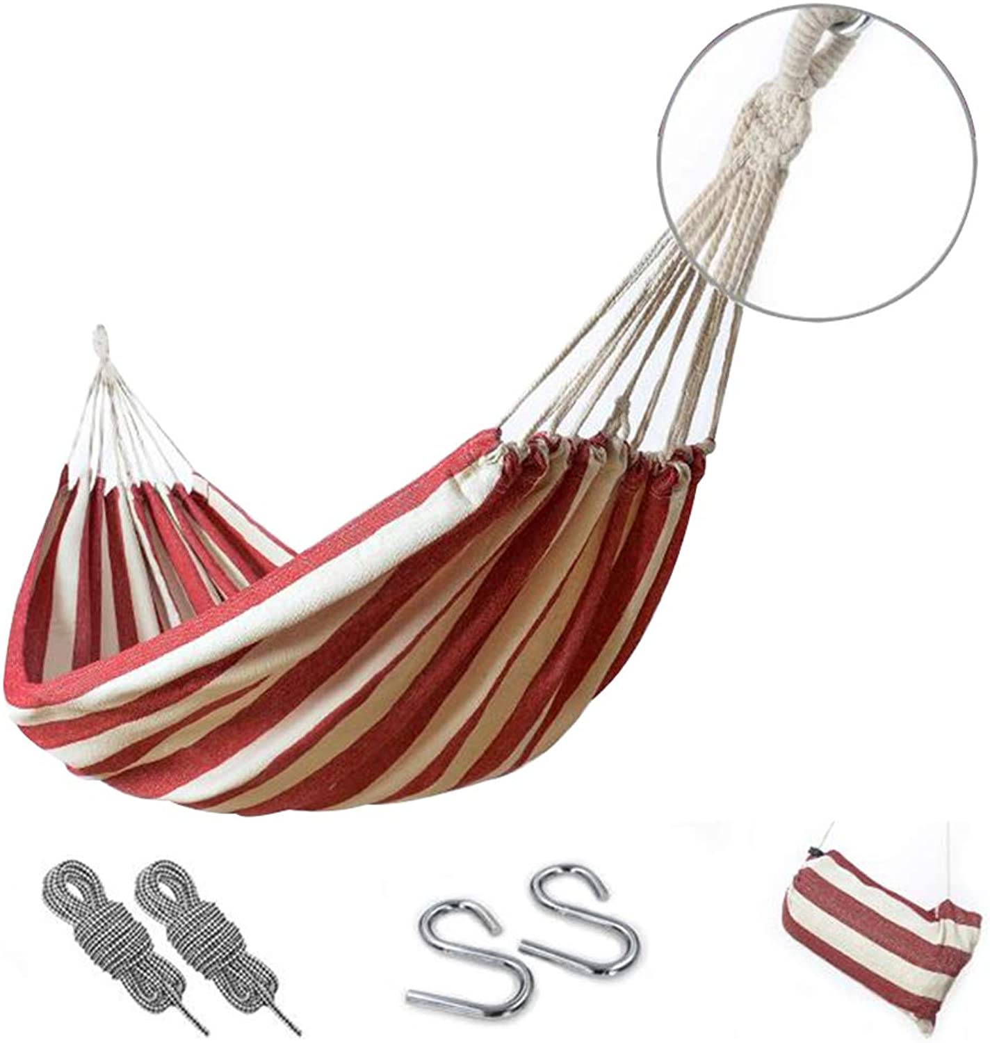 CUUYQ Portable Hammocks, Camping Travel Hammocks with Travel Bag Single Hammock Includes Nylon Straps Camping Hammocks for Outdoor Indoor,Red White_200x100cm 100KG
