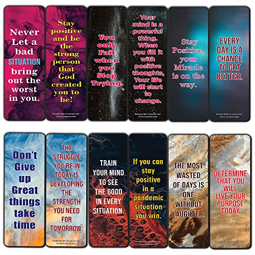 Encouraging Positive Quotes During Trials Series 2 Bookmarks (12-Pack) - Awesome Bookmarks Collection – Cool Stocking Stuffers for Men Women - Gift Token Rewards Incentives for Bookworms