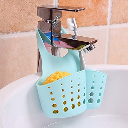 Vmoni Kitchen Bathroom Sponge Soap Water Draining Hanging Holder Organizer for Faucet Sink, Caddy Organizer, Kitchen Accessories (Assorted Color) Set of 2