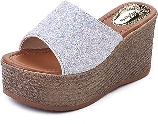 Wedges Flip Flops Sandals for Women,Casual Sequin Flat Platform Beach Slipper Shoes