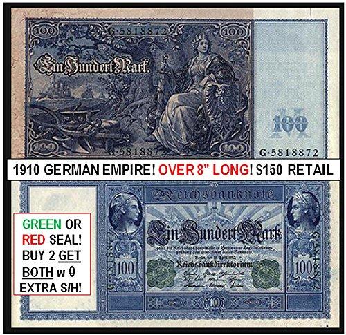 1910 DE GIGANTIC GERMAN EMPIRE BANKNOTE w MILITARY THEME (NAVAL FLEET, GERMANIA w SWORD, EMPEROR IN UNIFORM)! JUST BEAUTIFUL! 2 COLORS AVAILABLE 100 Marks Very Fine Range (Each Note Varies Slightly)