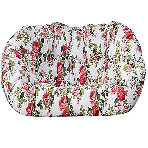 Cojín grueso para silla de dos plazas Papasan, Waterpoof Comfort Hanmaca para colgar con forma de huevo Cojines para silla Cojín de asiento extraíble para patio interior y exterior Rosa roja 150x110cm