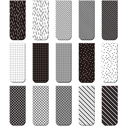 30 Pieces Magnetic Bookmarks Magnetic Page Markers Assorted Bookmarks Set for Student Stationery Present Magnet Bookmarks Clips (Black and White)