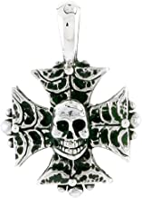 Sterling Silver Iron Cross w/Skull Charm, 3/4 inch Tall