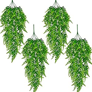 Naidiler 4 Pcs Faux Hanging Plants Artificial Hanging Boston Fern Plants Fake Hanging Greenery Indoor Outdoor Plants for Room Garden Wall Decor