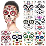 Halloween Temporary Face Tattoos (8Pack), Konsait Day of the Dead Sugar Skull Floral Black Skeleton Web Red Roses Full Face Mask Tattoo for Women Men Adult Kids Boys Halloween Party Favor Supplies