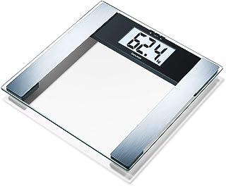 Beurer BG17 - Báscula de baño digital diagnóstica de cristal, pantalla LCD extragrande (40 mm), indicador gra sa y agua corporal, masa osea y muscular, vidrio de seguridad, 10 memorías, max 150 kg