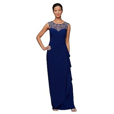 Alex Evenings Petite Long Sleeveless Overlay Cascade Dress (Bright Sapphire) Women