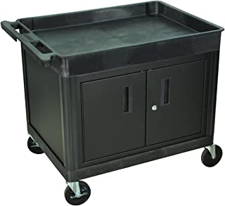 Luxor Tub Top Shelf Multipurpose Utility Storage Cart with Cabinet