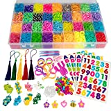 12,600+ Loom Bands Jewelry Bracelet Making & Key Chain Kit - Includes 36 Rainbow Colors, 6...