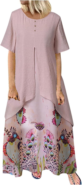 Women's Flower Maxi Dress, Woman Double Layer Short Sleeve Floral Long Dress, Ladies Button Crew Neck Loose Fit Dresses