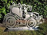 Gartendeko Fockbek Metallfigur Gartenfigur ca. 60 x 96 cm (Motiv'Trecker 2') Treckerfigur Traktor Landwirtschaft