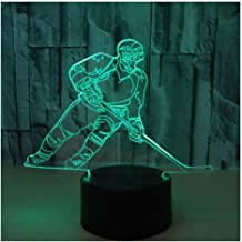 3D Optical Illusion LED Lamps Night Light,Amazing 7 Colors Quick Touch Switch Lamp with Smooth Acrylic Flat,USB Powered Deco Lamp,Birthday Christmas Holiday Gift for Kids and Friends,Ice_Hockey_a