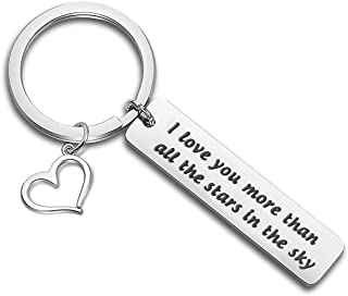 WUSUANED I Love You More Than All The Stars in The Sky Keychain Astronomy Gift for Cuople Family Best Friends