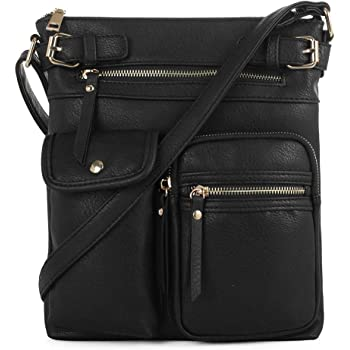 SG SUGU Katie Lightweight Medium Crossbody Bag Shoulder Bag with Multi Pocket for Women