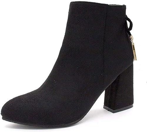 HBDLH Chaussures pour Femmes Martin Bottes Talon 8 Cm De Hauteur D'épaisseur 100 Ensembles Talon des Bottes des Bottes Velours Nu