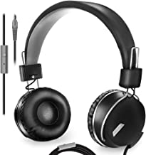 On Ear Headphones with Microphone Lightweight Headset for Computer Tablet Ipad Smartphone Comfortable Foldable Adjustable fit, with Swival Cups, Stereo bass with Tangle Free 1.5m Cord with 3.5mm Jack