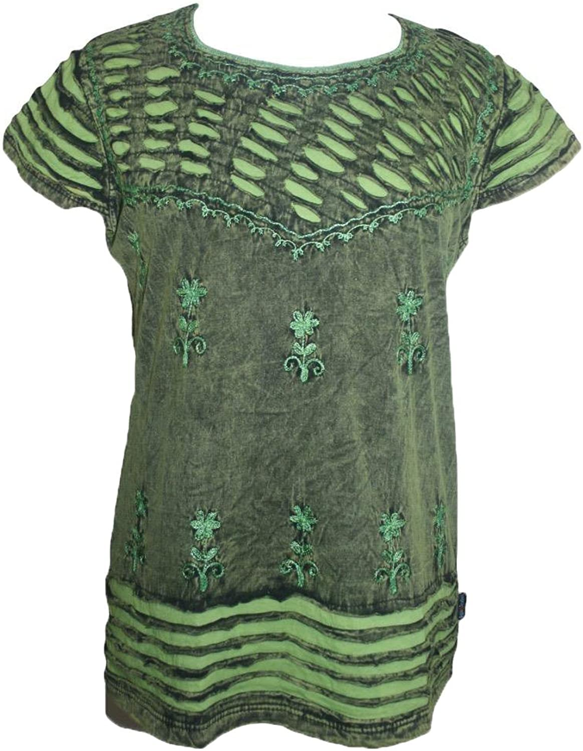 Agan Traders R 132 Women's Bohemian Gypsy Razor Cut Cap Sleeve Blouse Top
