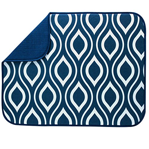 S&T INC. Absorbent, Reversible XL Microfiber Dish Drying Mat for Kitchen, 18 Inch x 24 Inch, Navy Double Trellis