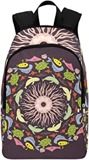 Abstract Colored Round with Fish Pattern Casual Daypack Travel Bag College School Backpack for Mens and Women