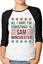 All I Want for Chrismas is Sam Winchester 3/4 Sleeve Raglan Tops Women's
