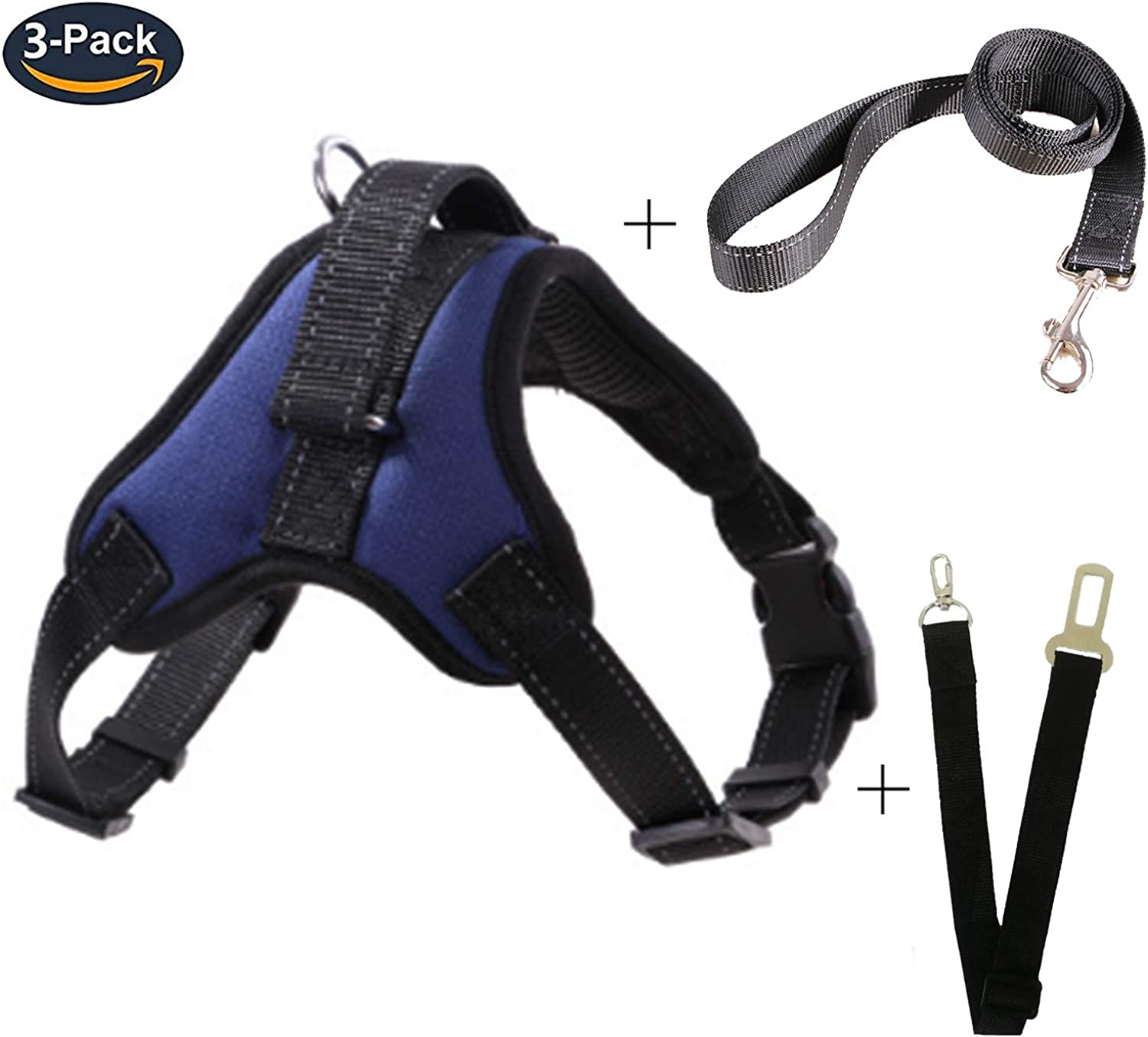 DniDesly Dog Harness with Handle Double Layer Reflective Adjustable Soft Pet Vest for Small Medium Large Dog (S, bluee+Straps)