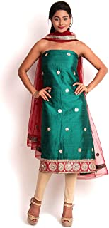 Green Raw Silk Suit with Gota-Patti