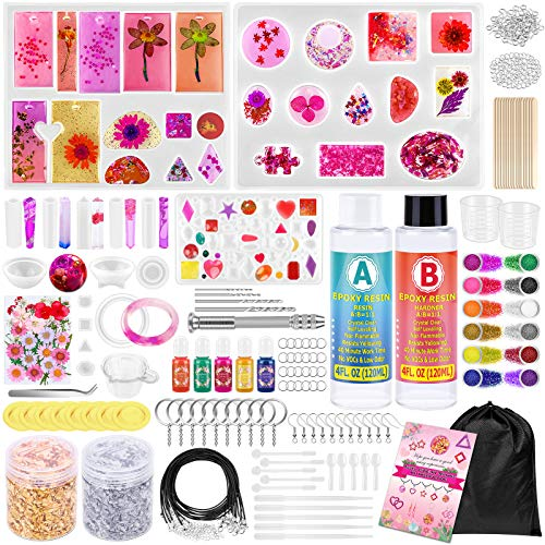Resin Molds Kit for Jewelry Making, 270 Pcs Epoxy Resin Supplies for Beginners Includes Resin Molds Silicone, Epoxy Resin, Dried Flowers, Glitters, Pigments, Gold Foil Flakes, Tools Set for DIY Crafts