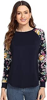 Romwe Women's Long Sleeve Top Casual Floral Print T-Shirt Tee