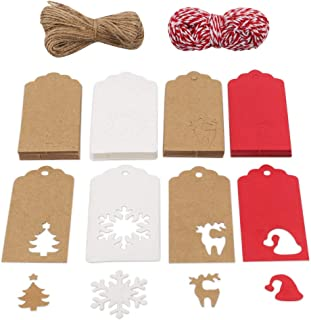 Moretoes 200 PCS 4 Types Kraft Gift Tags with Free 100 Feet Natural Twine String of 2 Different Color, Hang Label Christmas Tree Snowflake Reindeer Hat Design for Christmas Gift Favor and DIY Arts