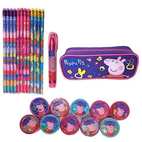 Peppa Pig Gift Set - Peppa Pig Character Pencils/Pencil case/Eraser/Stamps