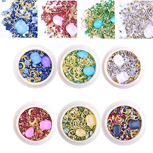 EBANKU 6 Boxen 3D Nail Art Nagel Kunst Dekorationen, Nagel Kristalle Glitter Strass Bunte Edelsteine Fingernägel Aufkleben Zubehör, Strassstein Set für DIY Nägel Dekoration