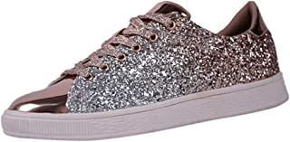 Women's Fashion Sequins Solid Color Sneakers Nightclub Trend Wild Casual Shoes Athletic Running Walking Lace Up Soft Sole