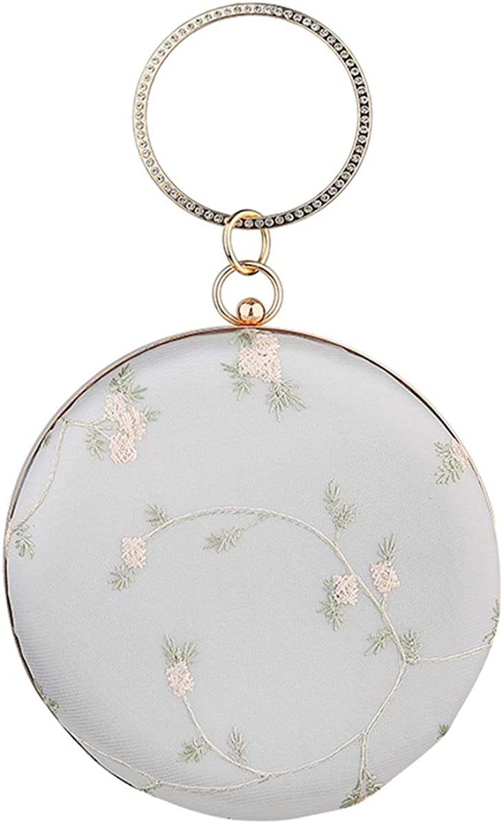 Round Mini Women's Clutch Bag - Chinese Vintage Style Lace Embroidered Handbag,Evening Bag Wedding Party Purse