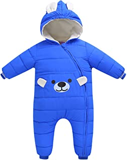 REWANGOING Little Girls Boys One Piece Winter Zipper Cartoon Bear Hooded Puffer Down Jacket Jumpsuit Snowsuit