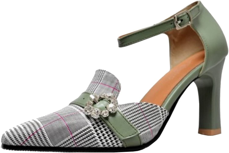 TAOFFEN Women Fashion Ankle Strap Sandals Office Heels
