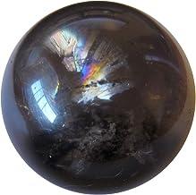 Satin Crystals Smoky Quartz Ball Premium Rainbow in Clear Black Charcoal Crystal Negative Energy Protective Slayer Stone P...