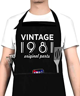 40th Birthday Decorations for Men and Women, Vintage 1981 Birthday Gift, Party Supplies - 40th Anniversary Present Apron w...