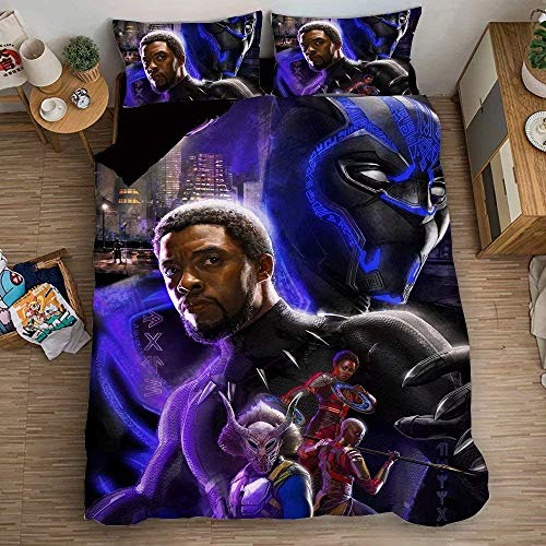 POMJK Black Panther Bed Linen, Black Panther Duvet Cover Set, Great Quality, 3D Digital Print, 2 Pillowcases (Black Panther1, 220 x 240 cm + 50 x 75 cm x 2)