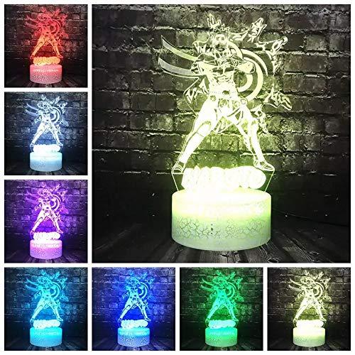 Dibujos animados Naruto Shippuden Atmósfera Luz 3D LED Puerto USB Decoración LED Lámpara de ahorro de energía Regalo de vacaciones Decoración Lámpara de mesa